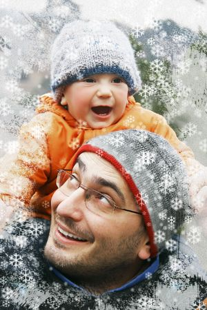 father and son winter portrait Stock Photo - 3798233