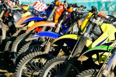 supercross: row of motobikes, close up at wheels