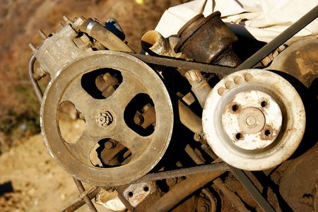 forgotten: close up of rusty motor Stock Photo