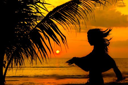 girl silhouette on sunset beach background Stock Photo - 3877565