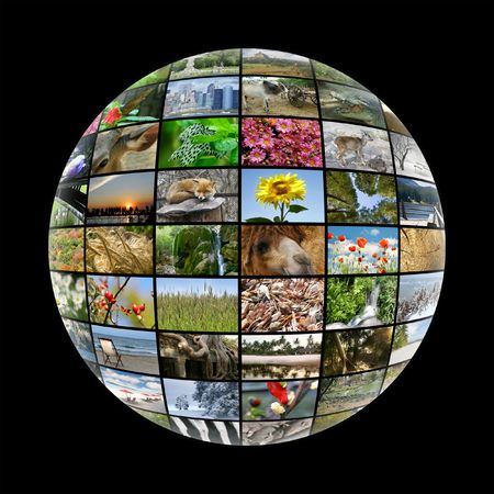 media ball with images on nature photo