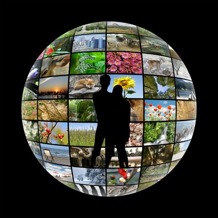 the humanities landscape: silhouette of young couple on media sphere background