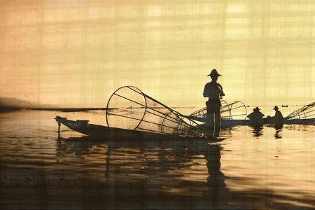 fishermen on old papirus paper