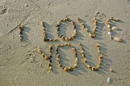 anniversary beach: I love you from seashells on sand beach