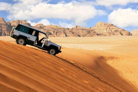 jeep car in desert Stock Photo