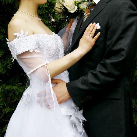 loving couple on their wedding day Stock Photo