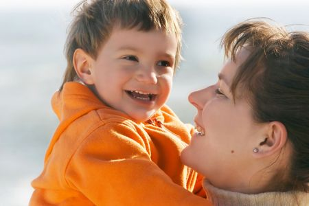 foster parenting: happy mother and son  Stock Photo