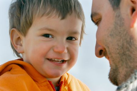 father and son, focus on child photo