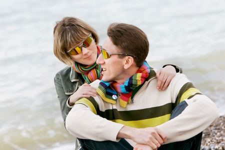 young couple on sea background Stock Photo - 4300171