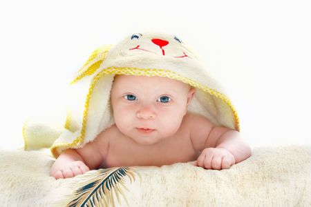 baby after bath portrait over white photo
