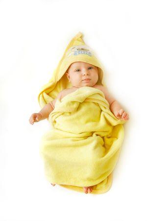 ba�arse: beb� despu�s del ba�o en blanco