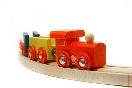 wood railroads: wooden train over white Stock Photo