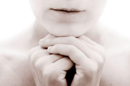 forgiven: close up of praying woman