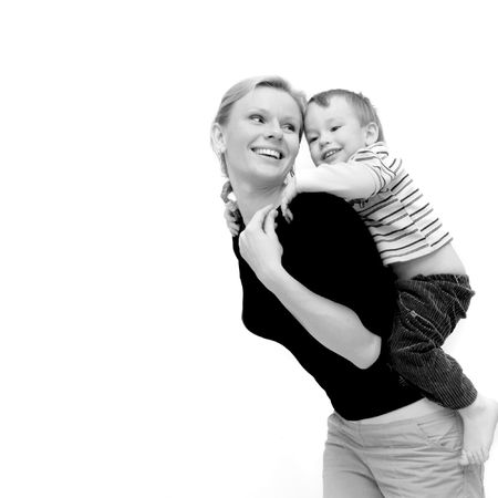 mother and son over white photo