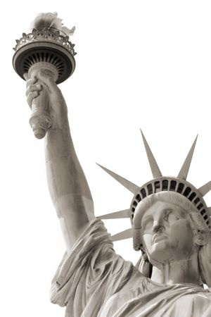 hallowed: statue of liberty over white Stock Photo