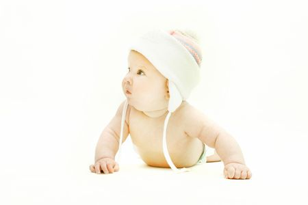 pink hat: cute baby in pink hat over white