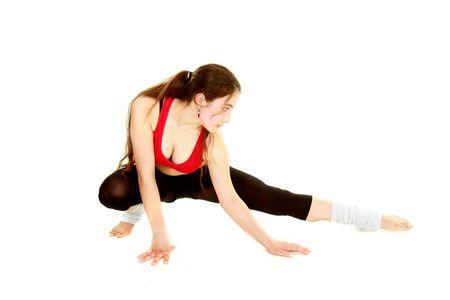 fitness girl over white photo