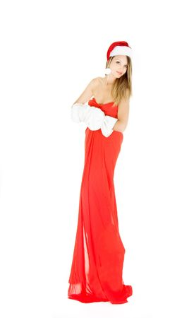 attractive santa claus girl over white Stock Photo - 5112149