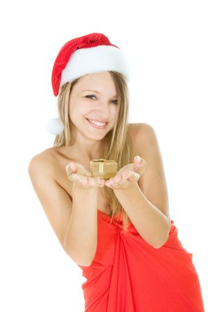 santa claus girl with gift box in hands over white Stock Photo - 5112151