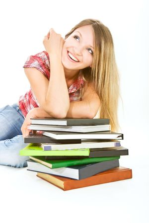 attractive student girl with pile of books over white Stock Photo - 5112155