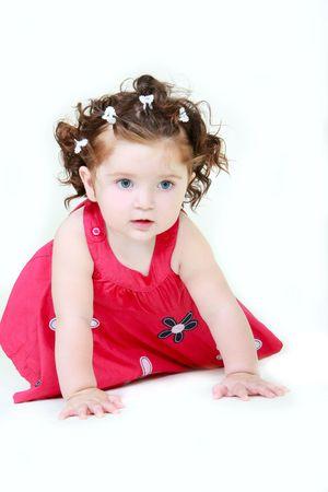 brune: cute toddler over white