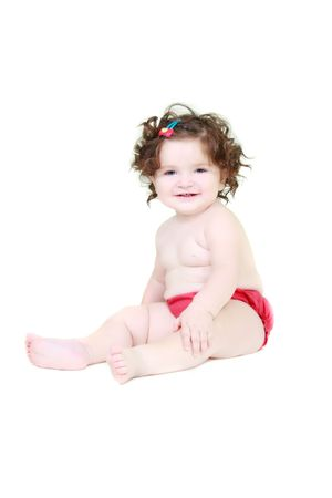 brune: cute baby girl over white