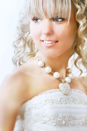 happy bride portrait over white Stock Photo - 5583665