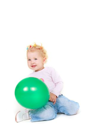 cute toddler girl with green balloon over white Stock Photo - 5744823