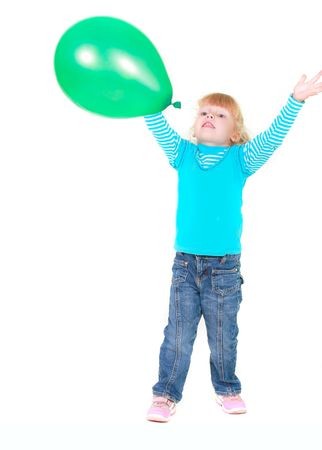 cute girl with green balloon over white photo