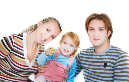 foster parenting: young happy family over white