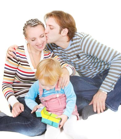 foster parenting: happy family over white