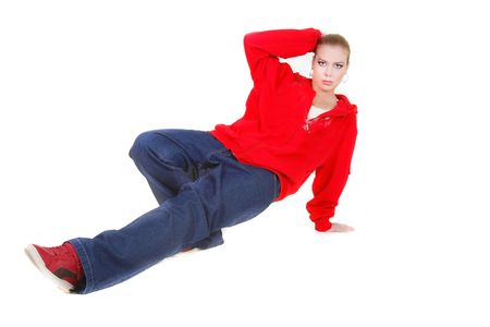 hip hop dance sitting over white Stock Photo - 5883010
