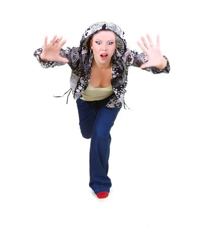 young girl shouting out over white Stock Photo - 5883001