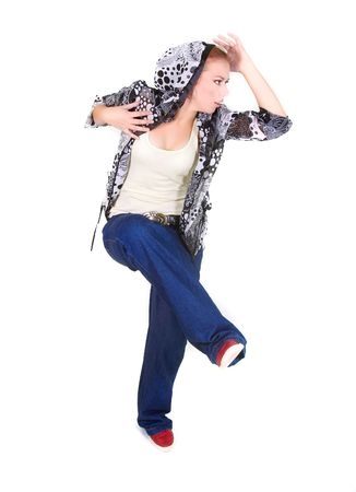 attractive girl dancing hip hop over white Stock Photo - 5883043