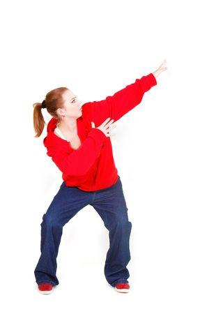 hip hop dancer over white photo