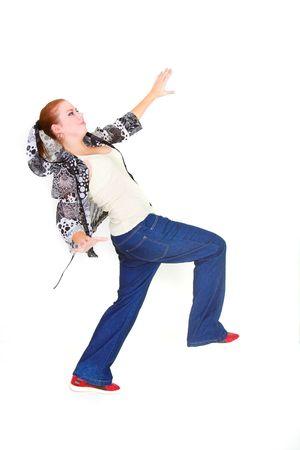 girl balancing over white photo