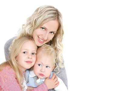 foster parenting: happy mother with two children over white