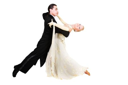 young couple dancing over white Stock Photo