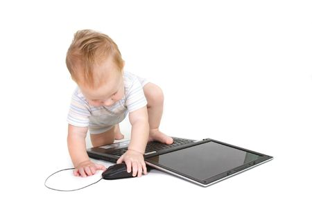 attentiveness: baby with laptop over white