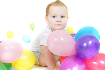 cute baby with colorful balloons over white Stock Photo - 6164285