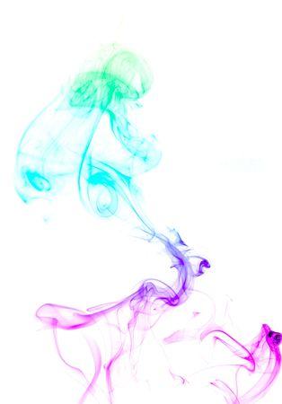 colored smoke over white photo