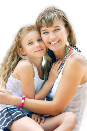 happy mother and daughter over white photo