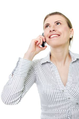 attractive woman with cell phone over white Stock Photo - 6449945