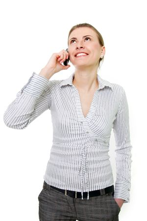 attractive woman with cell phone over white Stock Photo - 6449947