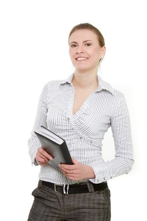 attractive business woman over white Stock Photo - 7768798