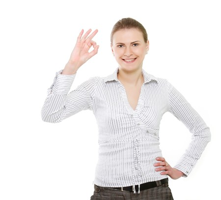 attractive business woman showing ok over white Stock Photo - 7768791