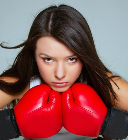 close up portrait of beautiful female boxer