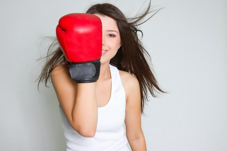 young smiling female boxer photo