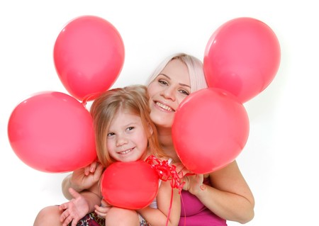 happy mother and daughter with red balloons over white photo