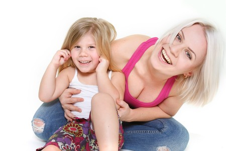 happy mother and dauther over white photo